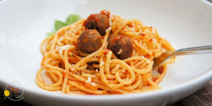 Spaghetti with edible insect burger meatballs