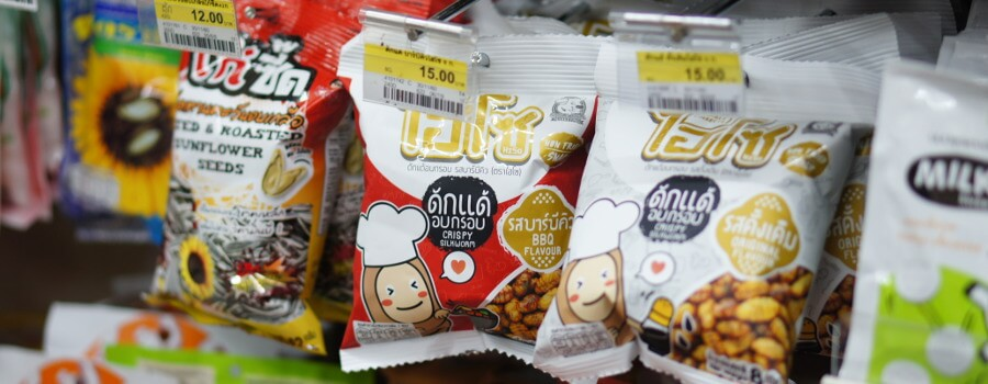 Edible Insect Silkworm Snacks at a Bangkok 7-11