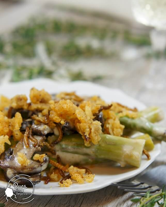 Greens and Mushroom Béchamel Casserole with Mealworms