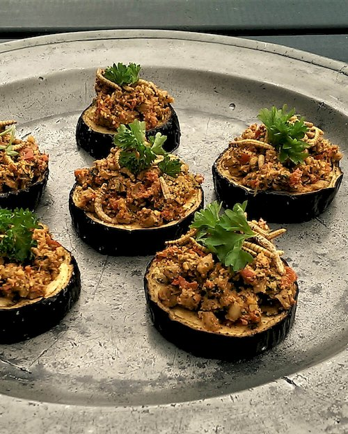 Baked Eggplant with Walnut Worm Cream